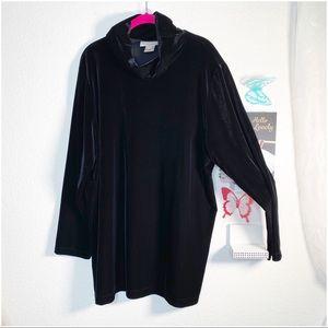 Susan Bristol velvet tunic turtleneck deep black